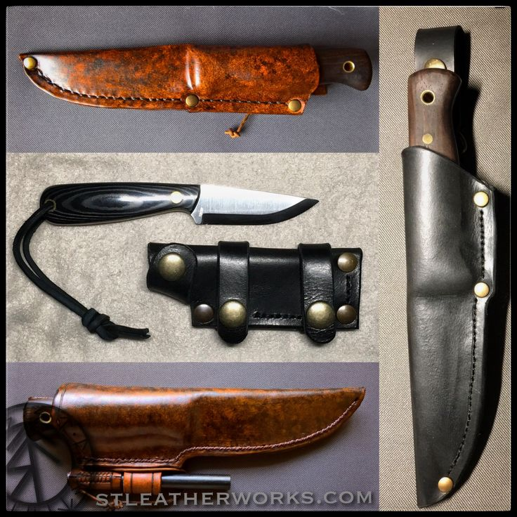A couple of examples of custom leather knife sheaths from www.STLeatherworks.com