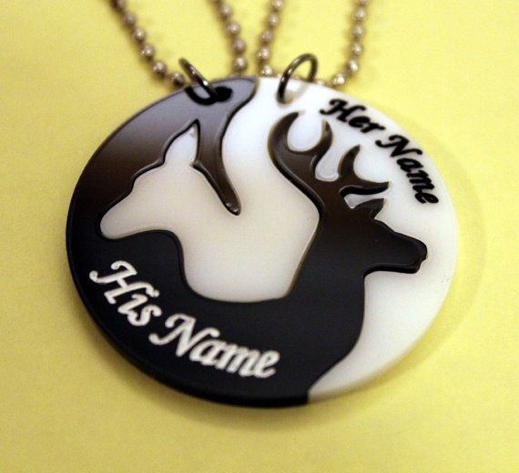 Engraved buck doe deer head heart his hers hunting southern love boyfriend girlfriend prom couple necklace pendant set w free decal BW on Etsy, $24.99