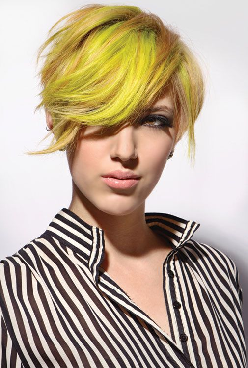 LOVE this after shot! Neon yellow hair using paul mitchell color from modern salon