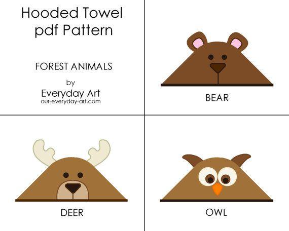 Hooded Towel Pattern - Bear, Deer, Owl (Forest Animals)