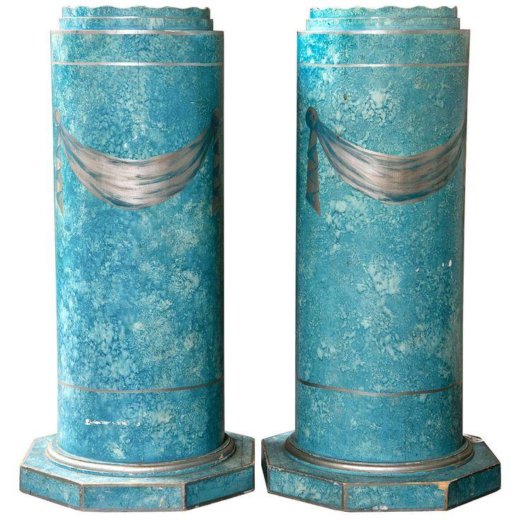 Pair Of Blue Painted Pedestals