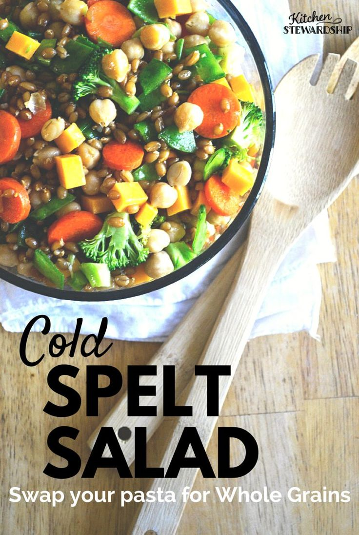 This cold spelt salad recipe is easy to adapt to whatever you have in the pantry and fridge, and is a great way to introduce a new whole grain to your family.