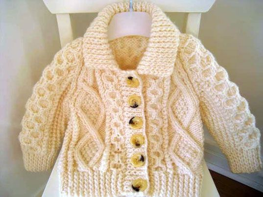 Classic Irish sweater for kids, hand-knit in the Aran style by a veteran knitter.