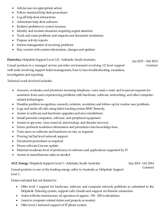 cover letter resume desktop support engineer objective for free example