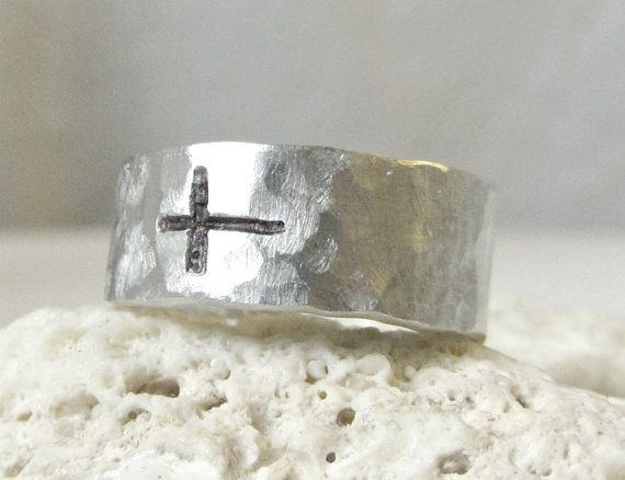 sideways cross ring: Bands Rings, Sterling Silver, Sideways Crosses, Hammered Sideways, Crosses Silver, Crosses Rings, Cross Rings, Rings Hammered, Silver Bands