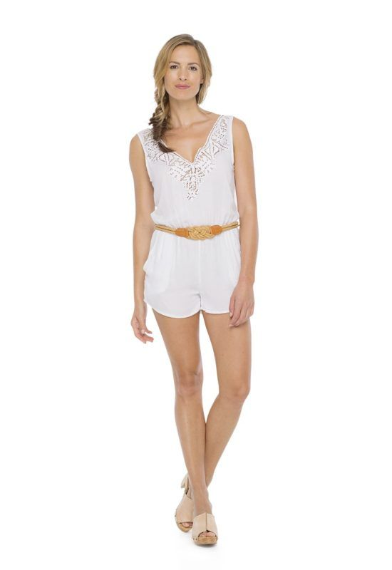 HELEN JUMPSUIT in White --  Sleeveless short jumpsuit with elastic around the waist Crossing open on the back and v- neckline with detail kerawang embroidery by hand