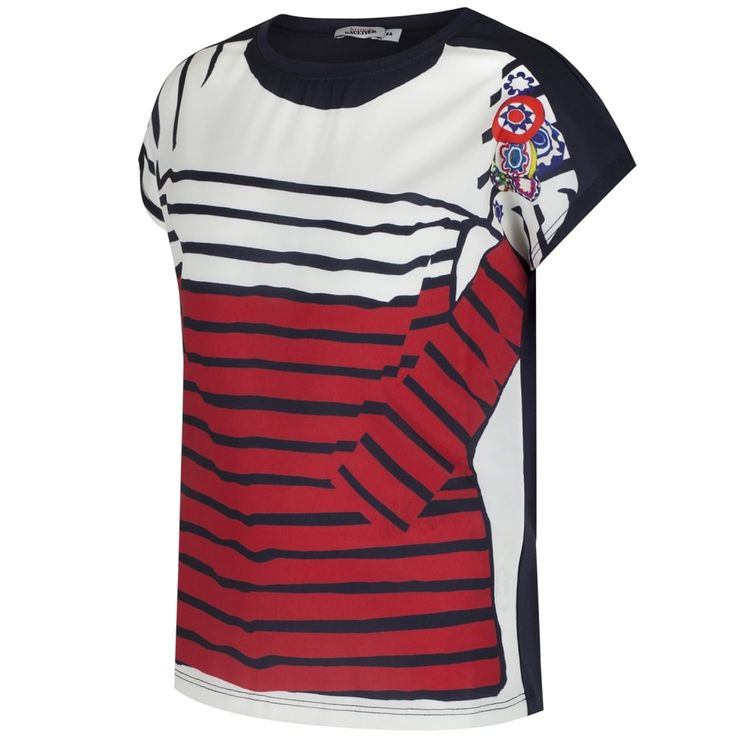 Junior Gaultier Girls Navy T-Shirt with White and Red Stripe and Floral  Print Girls Short Sleeve, Crew Neck, Girls, Stripes, @ Chocolate - Luxury  ...