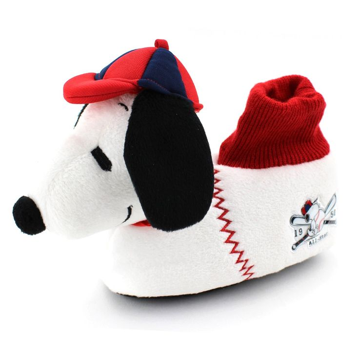 Peanuts Snoopy Kids Sock Top Slippers (L (9/10) M US Toddler, Snoopy All-Star Baseball). Sock top slipper style; Soft plush uppers for expected warmth. Textured sole for safety; Cushioned foot-bed; Stitched applique. 3D plush Snoopy head with baseball cap and fun baseball details. Novelty Peanuts footwear for toddlers, little boys and little girls.
