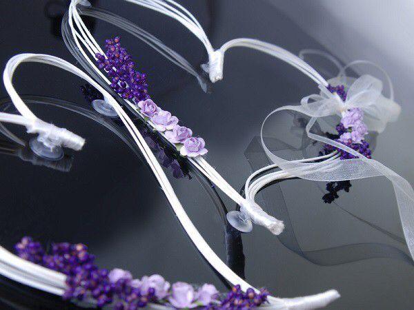 Décoration florale de Voiture Violet