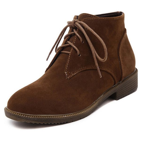 Brown Round Toe Lace Up Boots (135 BRL) ❤ liked on Polyvore featuring shoes, boots, ankle booties, brown, lace up boots, brown lace-up boots, brown booties, laced booties and flat lace up boots