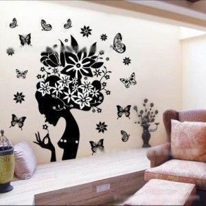 Flower Angel Head with Butterfly's Wall Decor Art Sticker