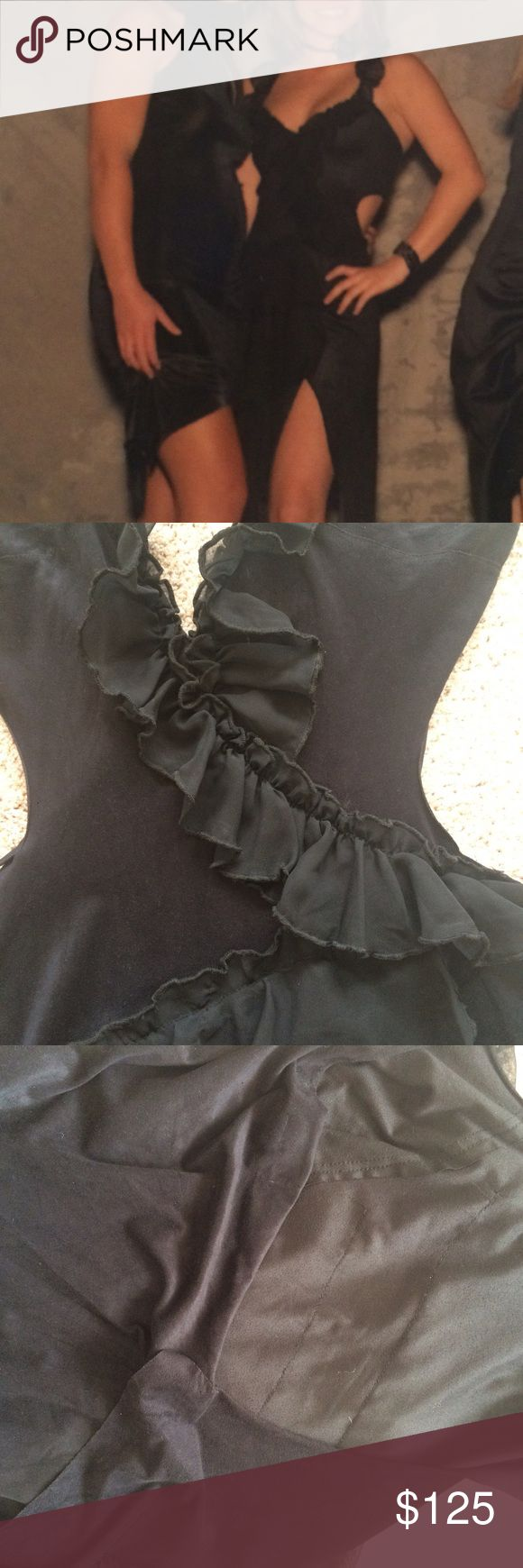 Asymmetrical Black Suede Ruffle Dress UNIQUE AND SEXY asymmetrical suede and ruffle dress. Size is large but I'm a small and took a brooch and pinned the back when I wore it. Open back, slit from the floor to the top of left thigh. Ruffles make this dress so feminine and sexy. Got sooooo many compliments on it. last photo is picture of the open back. Kosiuko Dresses Asymmetrical