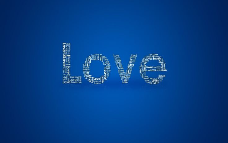 Simple Love Text Blue Background | HD Wallpapers