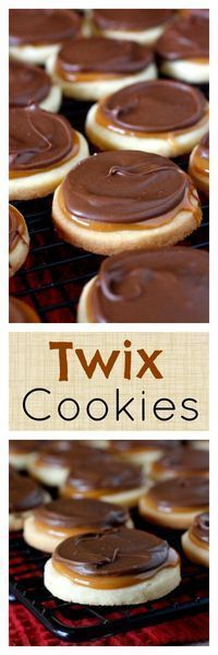 Twix Cookies - shortbread cookies topped with caramel and chocolate - they taste like a Twix candy bar!