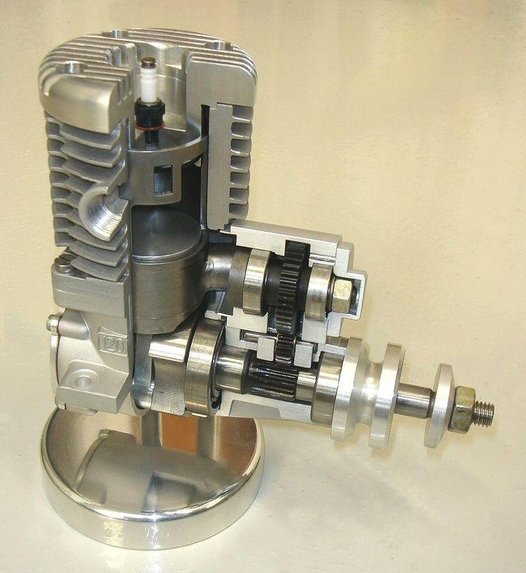 Cutaway museum display TMN sleeve valve model aeroplane engine