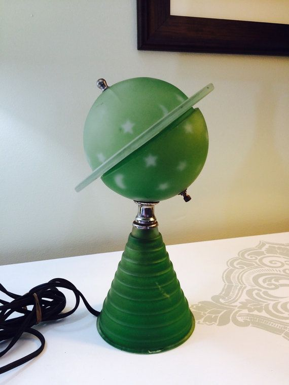1939 Worlds Fair Green Glass Saturn Lamp Art Deco Base