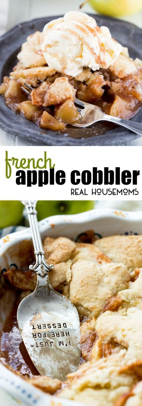 This French Apple Cobbler is delicious and comes together so fast! The baked apples are great with the vanilla baked topping and work perfectly with vanilla ice cream on top! via @realhousemoms