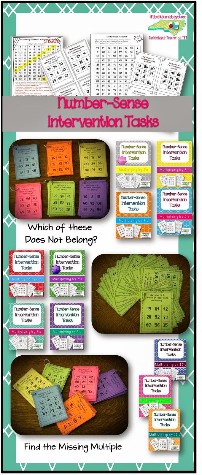 "In need of some multiplication fact INTERVENTIONS? If your students are not mastering their multiplication facts and are making errors that do not make sense, they may be in need of some ""number sense"" conversations; These number-sense tasks rely heavily on developing students' ability to ""count-by"" to recall multiplication facts; Number Sense Intervention Tasks--a unique way to work on multiplication facts, develop, number sense, elicit students' ideas about numbers, patterns in multiples…"