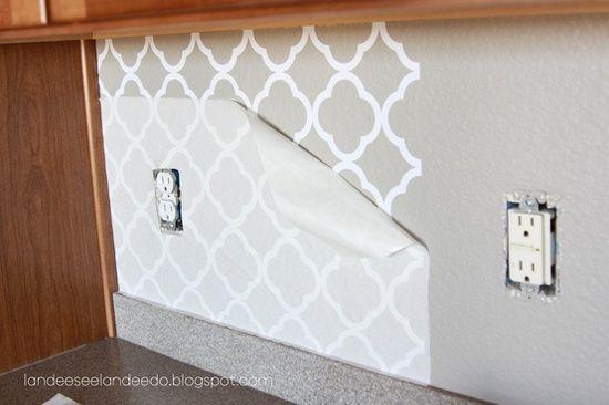 LOVE!!! Temporary, great for rentals! Kitchen backsplash, pantry or bathroom upgrade - vinyl quatrefoil design -. $5.50, via Etsy. Genius idea!