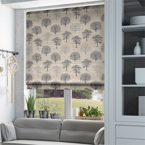 Bathroom Blind Ideas: Little Orchard Charcoal Roman Blind From Blinds 2go
