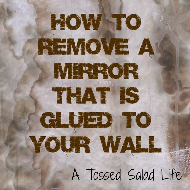 My Mom Made That: How to Remove a Mirror that is Glued to the Wall Got to get between the mirror and wall in order for a shim or putty knife to help pop the glue. I had success with using a box cutter to cut between them in order to get the shim or knife in.