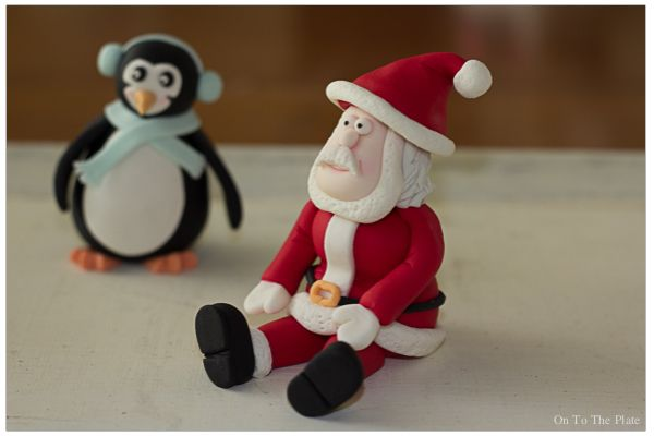 Christmas is coming!   On to the plate Gumpaste Christmas figurines Penguin Santa