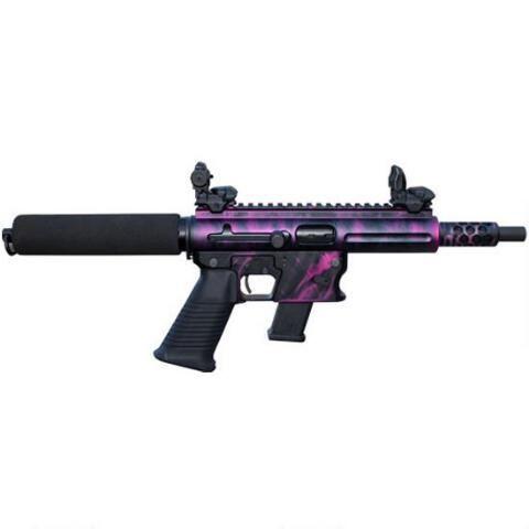 """Pink Attitude!"" TNW Aero Survival pistol in 9mm. 8"" quick change takedown barrel, Aircraft aluminum frame, 33 rounds capacity GLOCK style magazine"