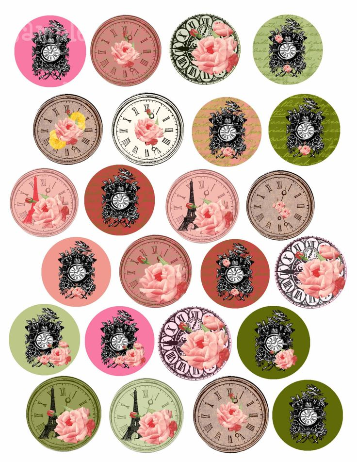 shabby chic clock clipart - Google Search