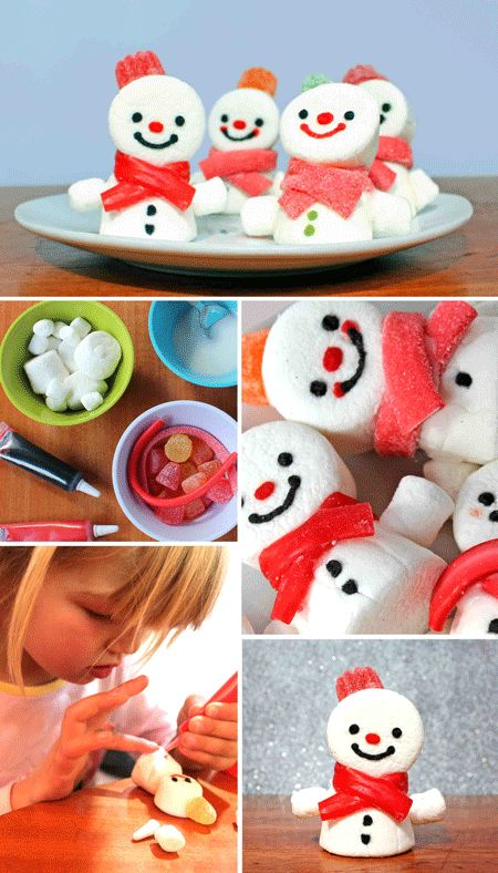 How to make fun and festive marshmallow snowmen treats for a holiday party or seasonal celebration. Step-by-step photo instructions. A simple classroom or homeschool activity. #snowmen #marshmallow  https://happythought.co.uk/craft/make-marshmallow-snowmen
