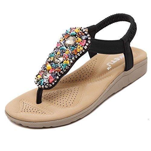 Oferta: 12.5€. Comprar Ofertas de Mine tom Mujeres Muchachas Sandalias Verano Estilo Bohemio Tacón Plano Romanos Zapatos Flip Flops Playa Zapatos Negro 39 barato. ¡Mira las ofertas!