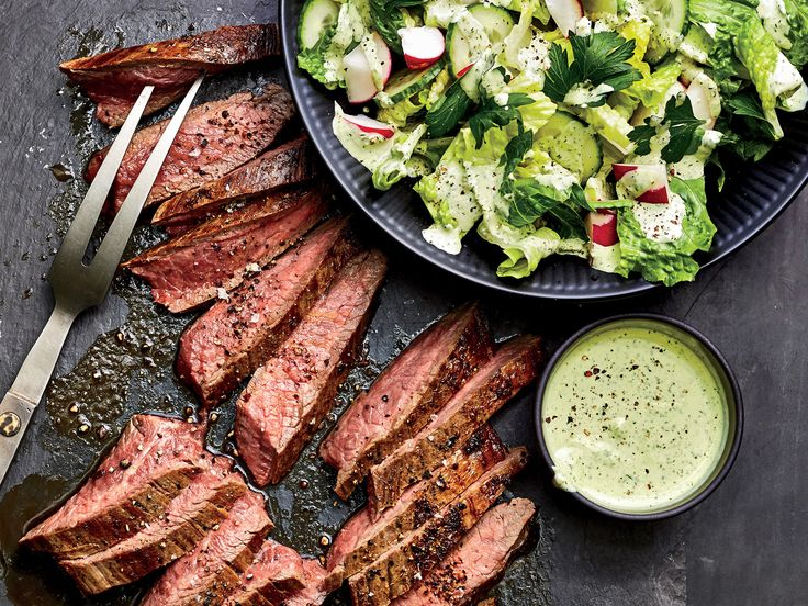 Make Flank Steak and Salad With Green Goddess Sauce in 20 Minutes | Time to add creamy green goddess dressing to your regular prep list. Whir up a double (or triple) batch and keep it on hand for this ultra-speedy steak salad dinner, and serve the extra as a veggie dip for after-school snacking. We love the fresh combo of dill, scallions, and parsley, but basil would taste great, too. Easter egg radishes are a colorful springtime find, but use whatever crunchy veg you have on hand or what…