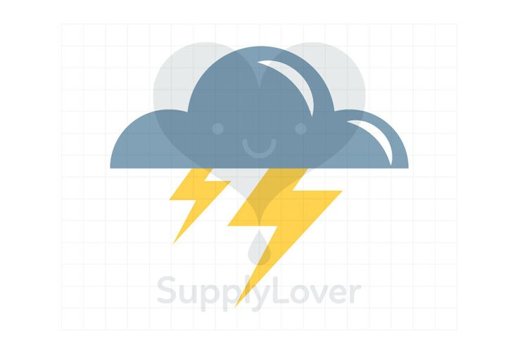 LIGHTENING Clip-Art Commercial Use, Weather, Storm, Lightening, Thunderbolt, Cloud, Cloudy, Weather Forecast, Yellow, Grey - A0070