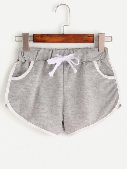 Heather Grey Contrast Trim Drawstring Shorts