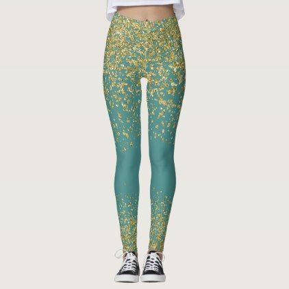 Teal & Gold Shiny Leggings - glitter glamour brilliance sparkle design idea diy elegant