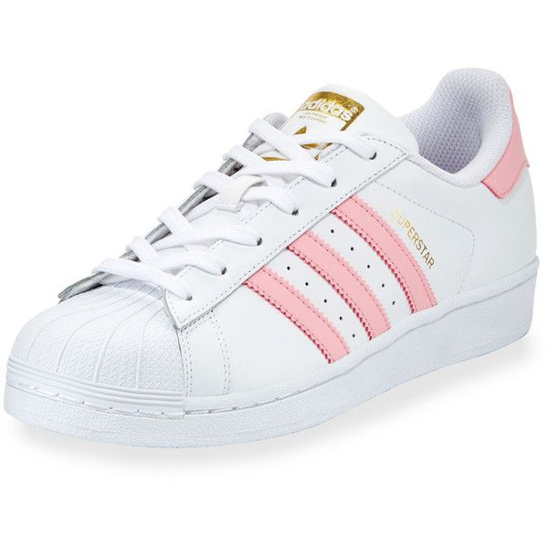 Adidas Superstar Original Fashion Sneaker ($80) ❤ liked on Polyvore featuring shoes, sneakers, lace up flat shoes, leather lace up flats, leather flats, low profile sneakers and lace up sneakers