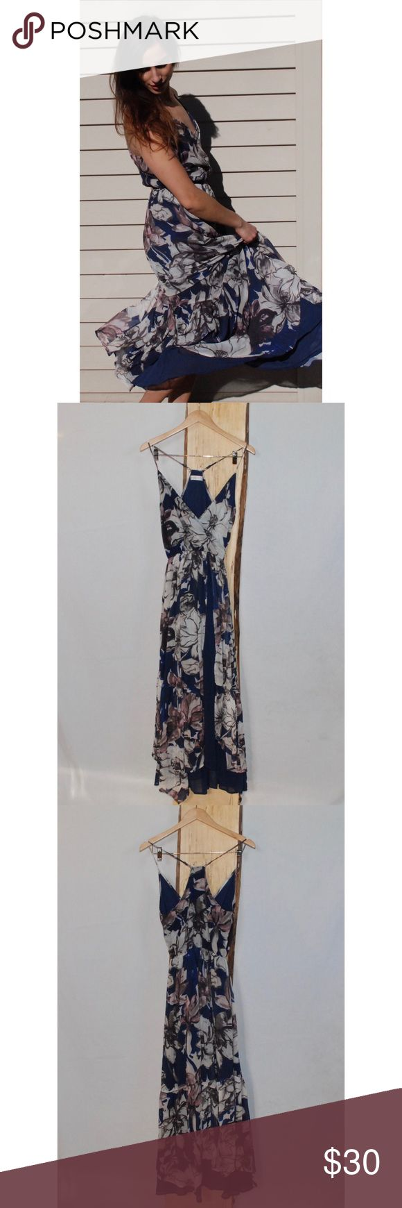 Abercrombie and Fitch Layered Floral Maxi Dress - Abercrombie and Fitch Layered Floral Maxi Dress   - Floral printed flowing layers with dark blue underlay. Racer back with adjustable straps   - 100% Polyester  - Gently Used Abercrombie & Fitch Dresses Maxi
