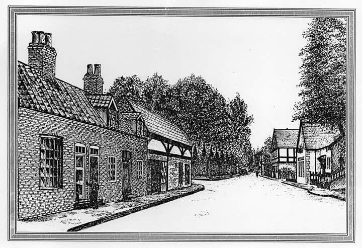 Kirkella village shops, pen and ink sketch by Norman Sumpton.