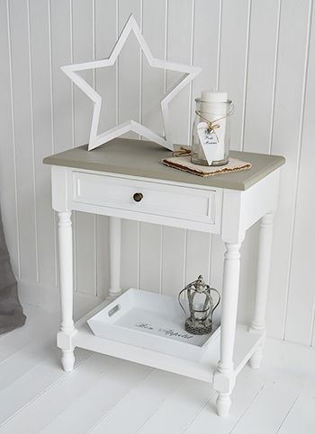 Cove Bay small console table or lamp table in white and grey for hallway furniture