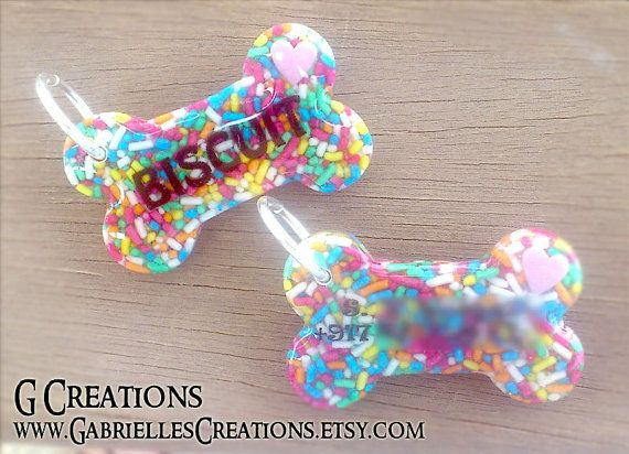 Colorful sprinkles Bone Dog Name Tag  Cute by GabriellesCreations