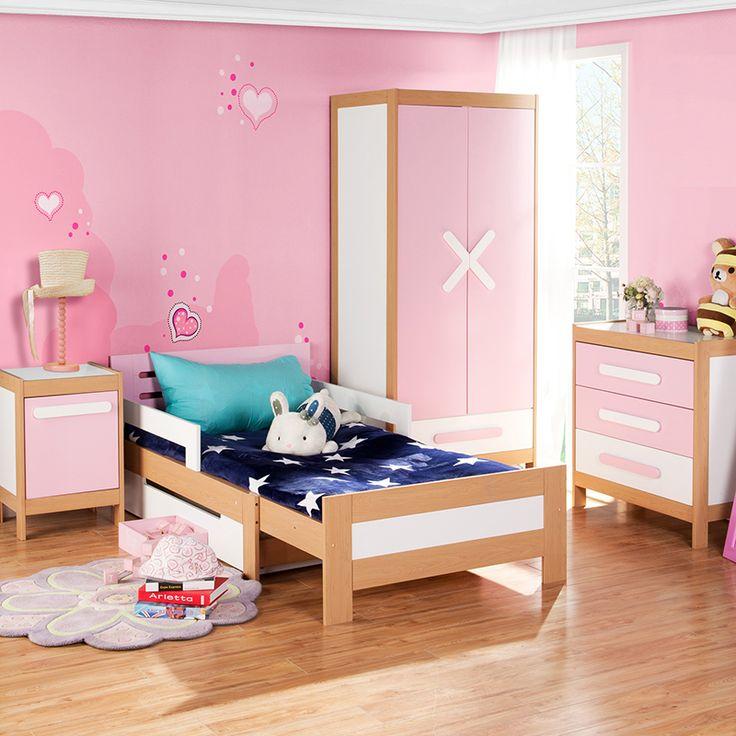 Розовая детская комната девочки с тумбой в комплекте
