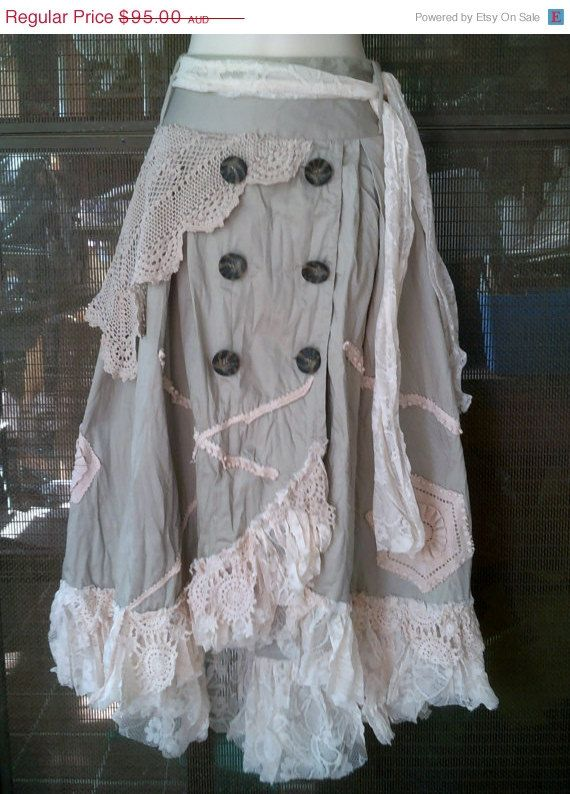 lagenlook shabby cotton overlapped skirt with by wildskin, $76.00
