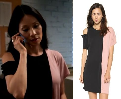 "Elementary season 3 premiere (""Enough Nemesis to go Around"") fashion: Find out where Joan Watson (Lucy Liu) got her black and pink color block dress with open shoulder #elementary #lucyliu #joanwatson"