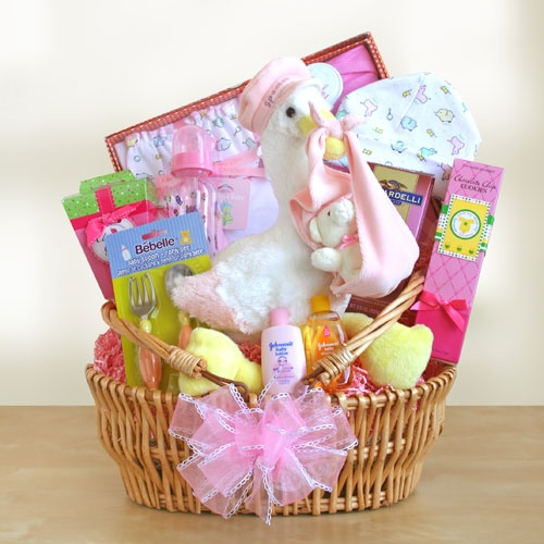Special Stork Delivery Baby Girl Basket - Unique And Affordable Gift Baskets For Loved One Celebrate the joy of a new baby girl and share the good news! Our cuddly white stork nests happily in a white woven basket surrounded by goodies in pink accents! There is a seven piece gift set for baby that includes a one-piece outfit, baby bib, cap, infant mittens, two baby washcloths, and a brush and comb set.