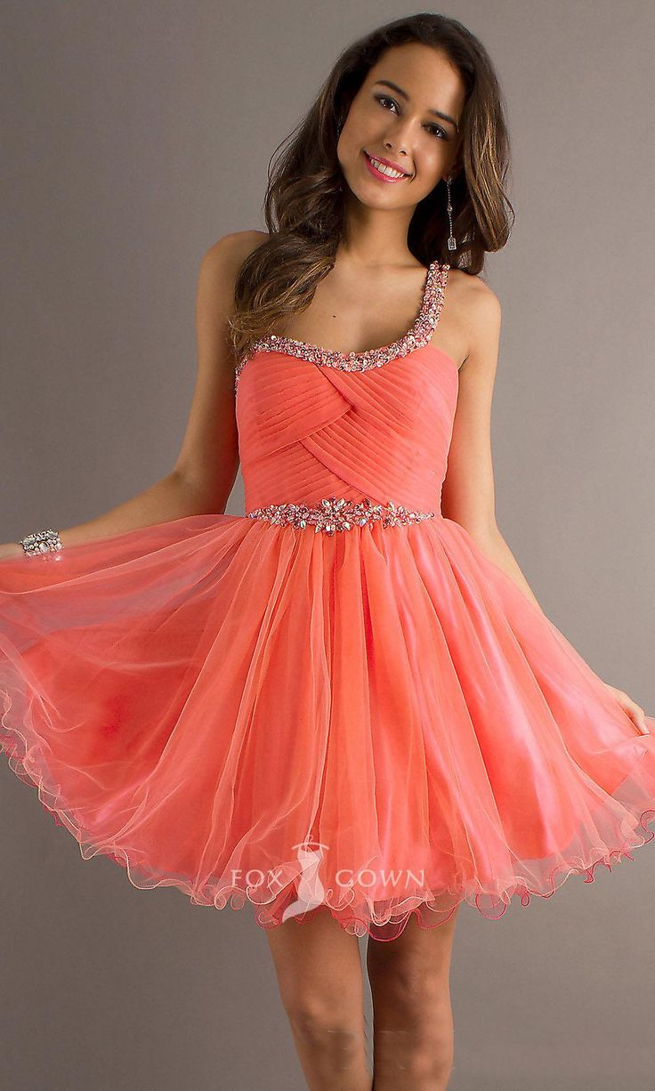 beaded-one-strap-a-line-short-prom-dress in 2019 | Coral