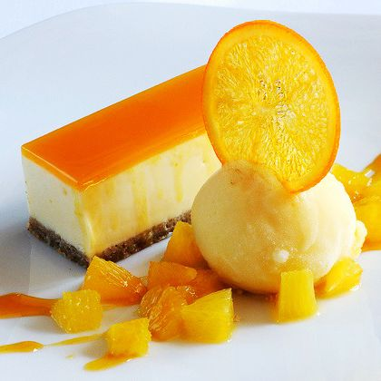Orange White Chocolate Cheesecake Recipe from The French Kitchen- There's GOT to be a way to make this without gelatin.