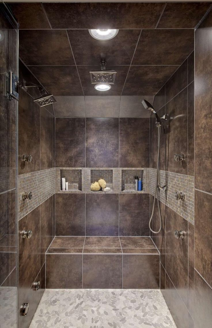 Unique Small Bathroom Interior Decorated with Brown Ceramic Tile Shower  Designs in Contemporary Style for Bathroom Inspiration