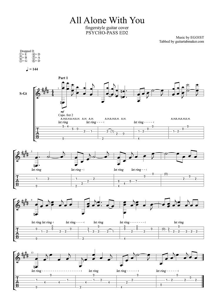 Egoist - All Alone With You fingerstyle guitar tab - pdf guitar sheet music - guitar pro tab download