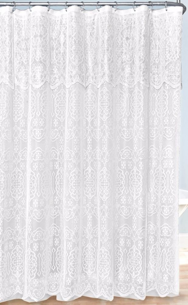 White Lovely Lace Bathroom Shower Curtain Decor With Valance 70 X