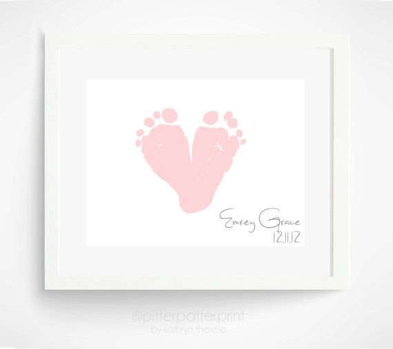 Personalized First Mother's Day Gift for New Mom - Pastel Blush Pink Baby Footprint Heart - Gift For Grandma - Birthday Gift New Grandmother