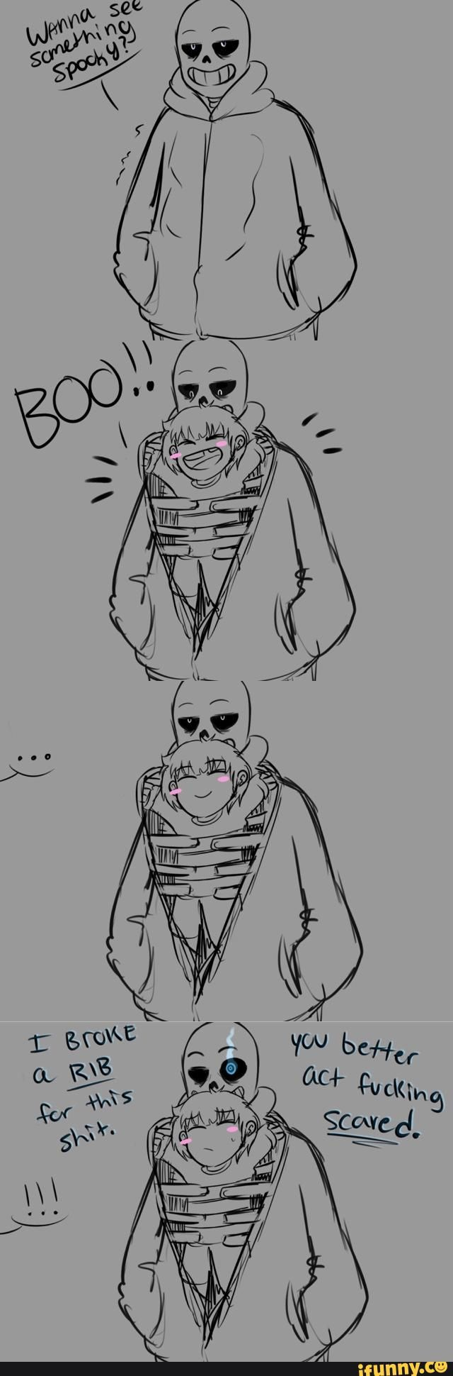Big bro sans gots his little sis frisks back :3